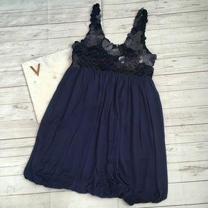 alice and olivia womens xs navy blue bubble dress